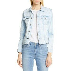 FRAME Raw Hem Denim Jacket in Cloud Wash  M